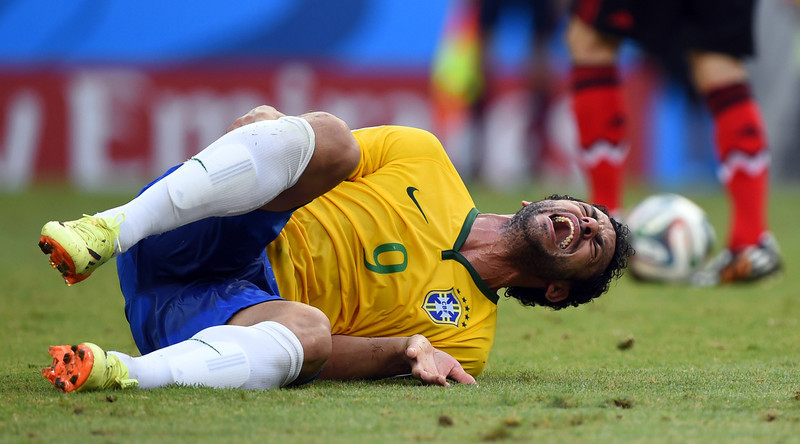 . Brazil\'s forward Fred reacts during a Group A football match between Brazil and Mexico in the Castelao Stadium in Fortaleza during the 2014 FIFA World Cup on June 17, 2014. (ODD ANDERSEN/AFP/Getty Images)