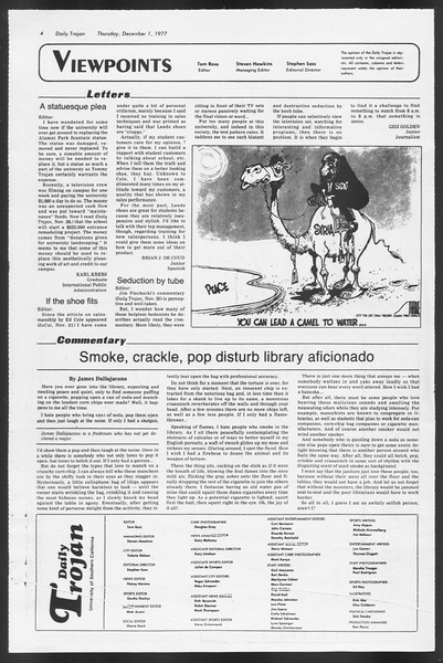 Daily Trojan, Vol. 72, No. 48, December 01, 1977