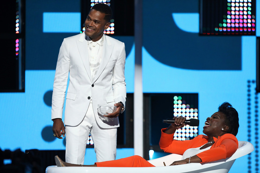 . Maxwell, left, and Leslie Jones perform a skit at the BET Awards at the Microsoft Theater on Sunday, June 25, 2017, in Los Angeles. (Photo by Matt Sayles/Invision/AP)