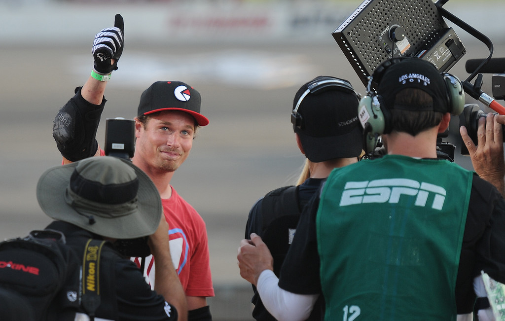 . Morgan Wade gives the thumbs-up to the crowd after winning the gold medal during the GoPro BMX Big Air Final at Irwindale Speedway on Friday, Aug. 2, 2013 in Irwindale, Calif.   (Keith Birmingham/Pasadena Star-News)