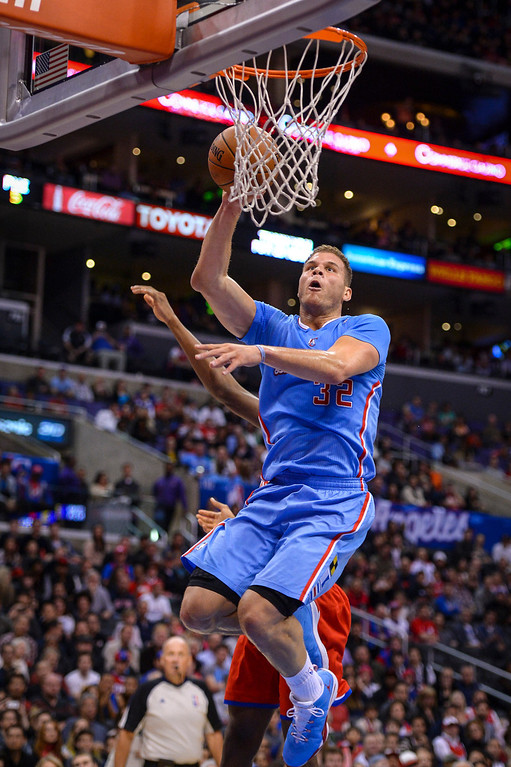 . Clippers� Blake Griffin puts in two points during first half action at Staples Center Sunday.  ( Photo by David Crane/Los Angeles Daily News )