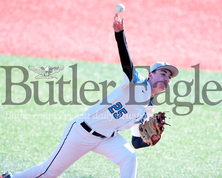 Harold Aughton/Butler Eagle: Seneca Valley's Jon McCullough delivers the pitch against Shaler.
