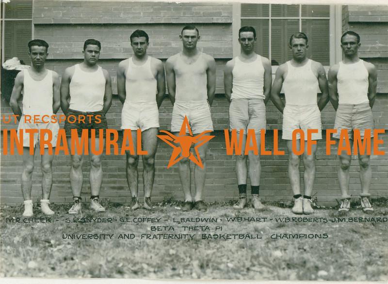 BASKETBALL University & Fraternity Champions  Beta Theta Pi  M. R. Cheek, S. L. Snyder, G. L. Coffey, L. Baldwin, W. B. Hart, W. B. Roberts, J. M. Bernard