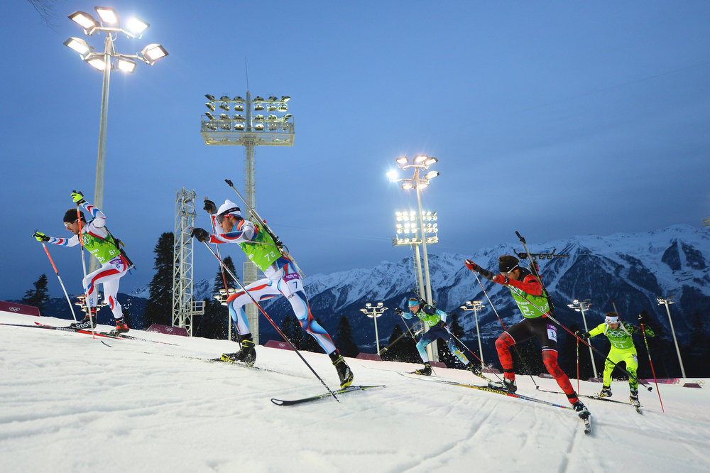 . (L-R) Jean Guillaume Beatrix of France, Jaroslav Soukup of the Czech Republic, Andriy Deryzemlya of Ukraine, Scott Perras of Canada and Tomas Hasilla of Slovakia competes during the Men\'s 4 x 7.5 km Relay during day 15 of the Sochi 2014 Winter Olympics at Laura Cross-country Ski & Biathlon Center on February 22, 2014 in Sochi, Russia.  (Photo by Harry How/Getty Images)