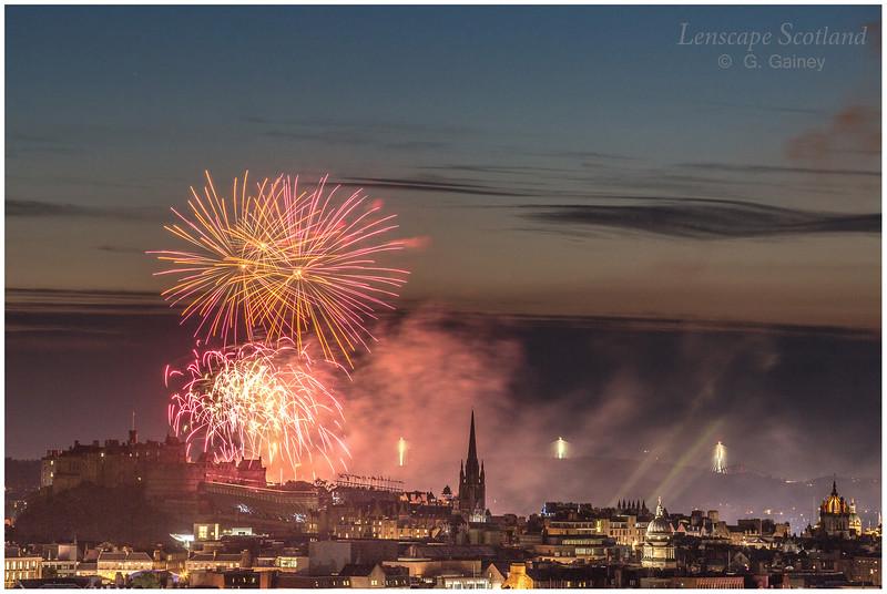 Fireworks over Edinburgh Castle from Holyrood Park (1)