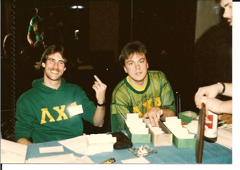 Hootmonster & Butch run the sign-in table at the '86 Atlantic Conclave.