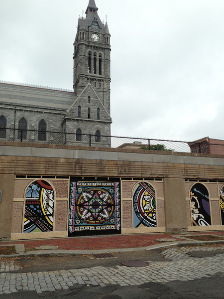 Art by students led by Vitek Kruta, Gateway City Arts.  August 2013.