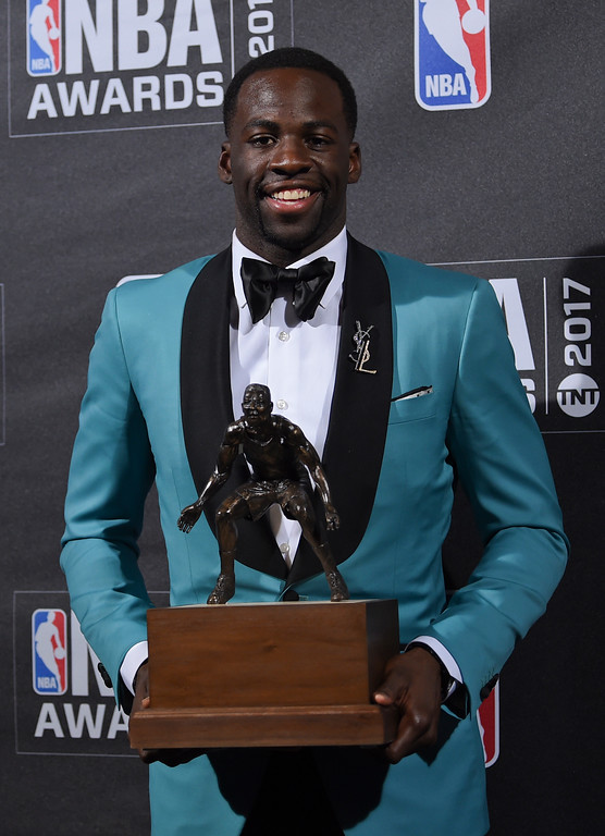. Kia NBA Defensive Player of the Year & Assist of the Year Award winner, Draymond Green, poses in the press room at the 2017 NBA Awards at Basketball City at Pier 36 on Monday, June 26, 2017, in New York. (Photo by Evan Agostini/Invision/AP)