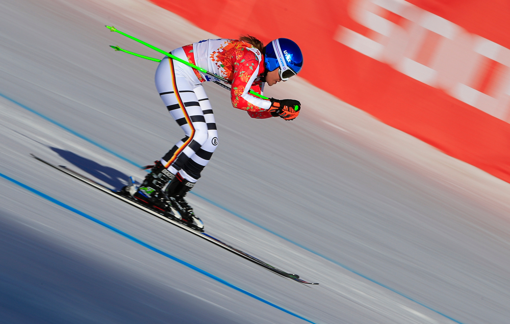 . Germany\'s Viktoria Rebensburg competes during the Women\'s Alpine Skiing Super-G at the Rosa Khutor Alpine Center during the Sochi Winter Olympics on February 15, 2014.  (ALEXANDER KLEIN/AFP/Getty Images)