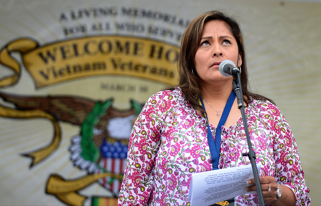 . During her keynote speech, Army Veteran Cindy Rowe looks up as she talks about the recent death of her husband and becoming a Gold Star Family member during Jose Ramos\' annual Welcome Home Vietnam Veterans Day at California High School in Whittier Saturday, April 13, 2013.  (SGVN/Staff Photo by Sarah Reingewirtz)