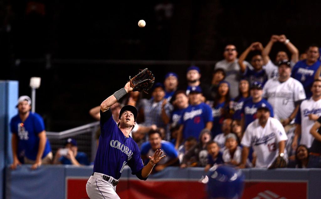 . Rockies defeated the Dodgers 1-0 at Dodger Stadium Saturday night, September 28, 2013. (Photo by Sarah Reingewirtz/Pasadena Star-News)