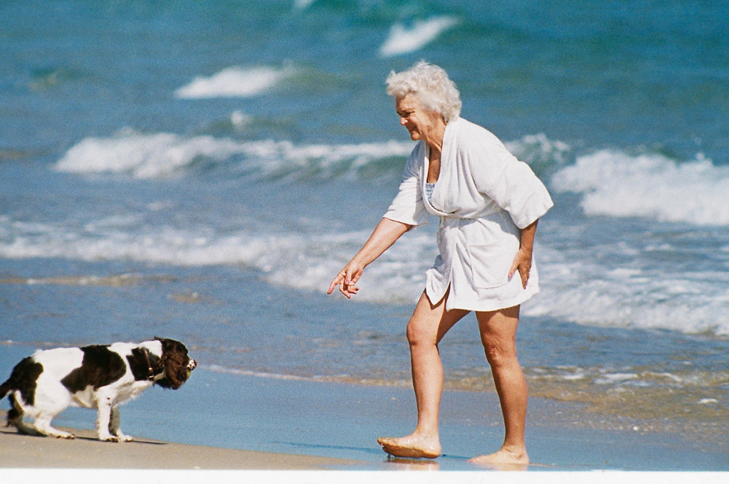 . Mrs. Barbara Bush, the forthcoming first lady of America, seen with her dog Millie at the beach in Florida.   Undated Photo. (AP Photo)