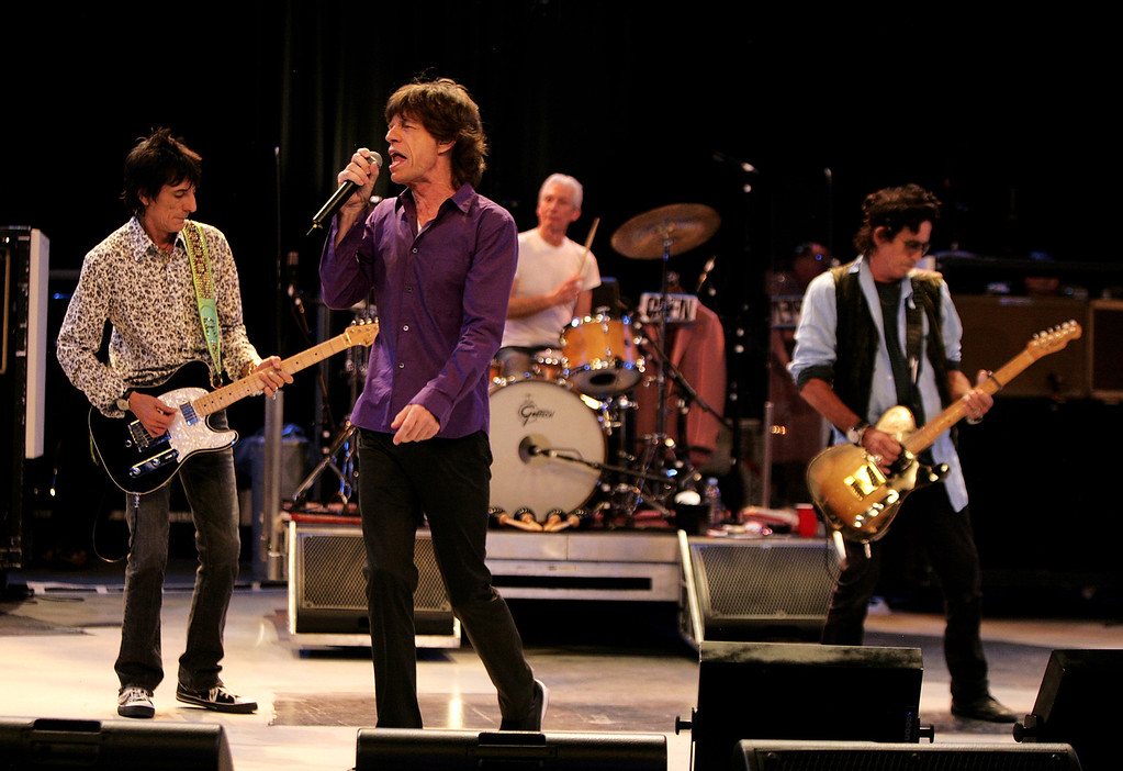 . (L-R) Ronnie Wood, Mick Jagger, Charlie Watts and Keith Richards of The Rolling Stones perform during a dress rehearsal prior to the opening concert of the 2007 European leg of their \'A Bigger Bang\' World Tour at the Videohouse on June 1, 2007 in Brussels, Belgium.     (Photo by /Getty Images)