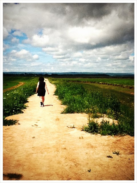 Mom walking on the dykes in Wolfville