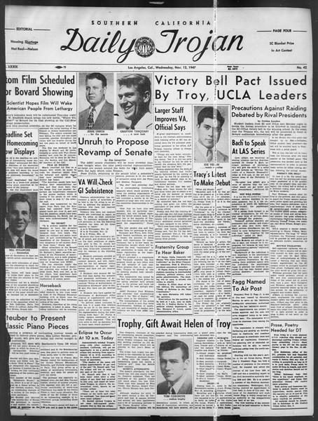 Daily Trojan, Vol. 39, No. 42, November 12, 1947