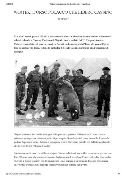 Wojtek, l'orso polacco che liberò Cassino - Nasz Swiat 1-001.jpg
