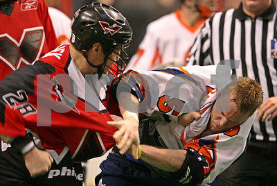 Thomas Hajek vs. John Orsen NLL fight - 2/29/2008 - Titans @ Wings - Wachovia Center - Philadelphia, PA
