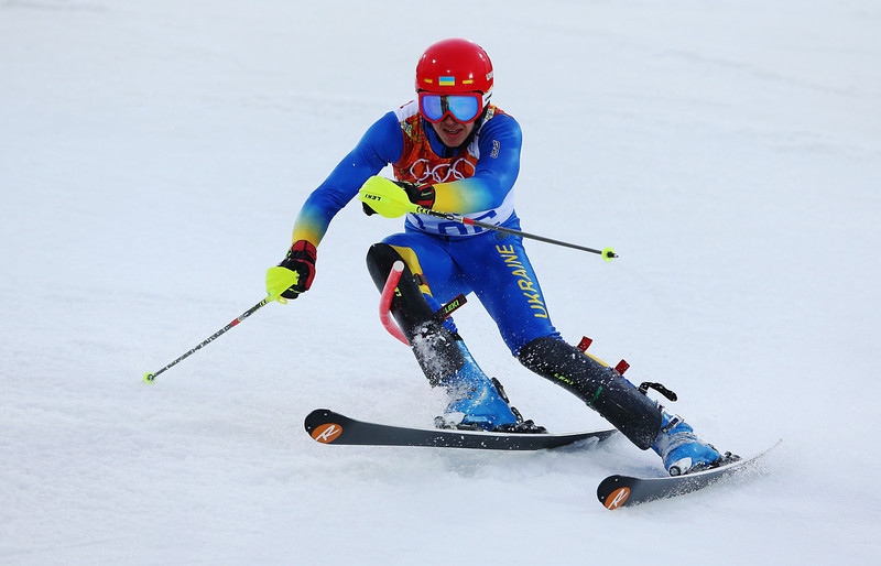 . Dmytro Mytsak of the Ukraine in action during the Men\'s Slalom during day 15 of the Sochi 2014 Winter Olympics at Rosa Khutor Alpine Center on February 22, 2014 in Sochi, Russia.  (Photo by Alexander Hassenstein/Getty Images)