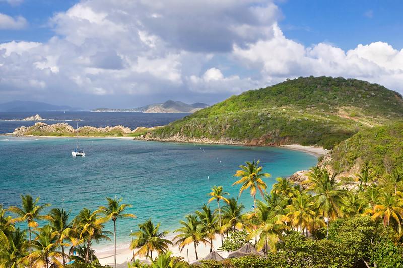 Beautiful tropical coastline of the British Virgin Islands.