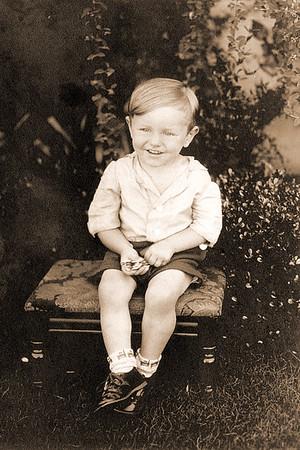 Little boy on bench Sepia2