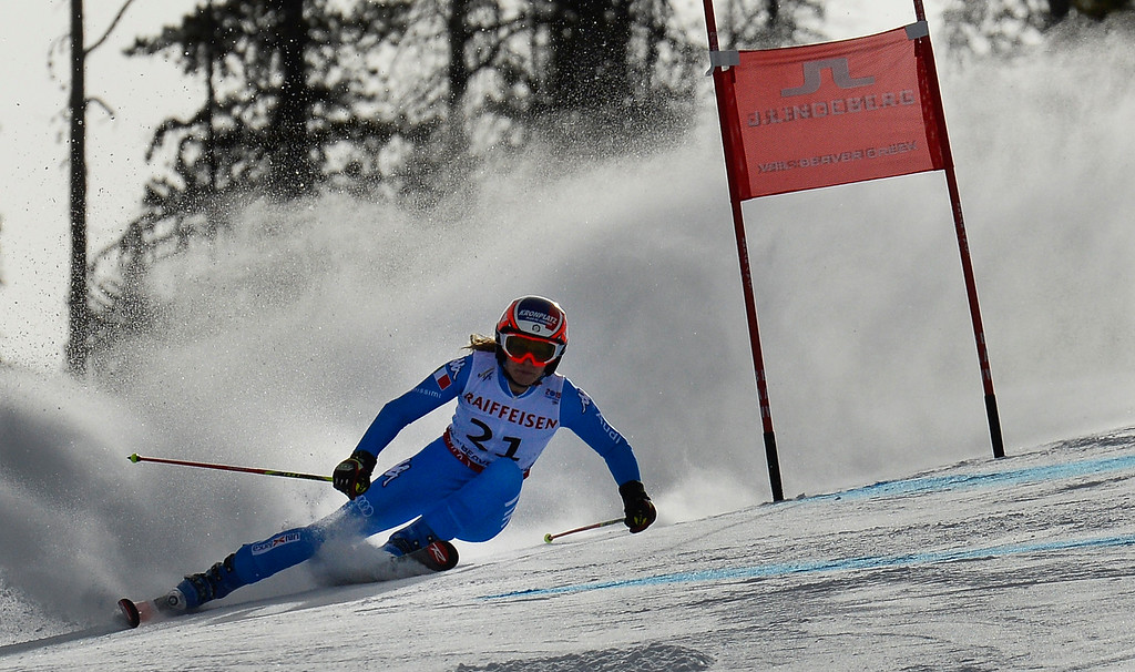 . BEAVER CREEK, CO - FEBRUARY 12: Manuela Moelgg of Italy competes in the first run of the Ladies Giant Slalom event at the FIS Alpine World Ski Championships in Beaver Creek, CO. February 12, 2015. (Photo By Helen H. Richardson/The Denver Post)