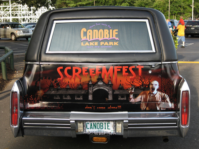 The ScreeemFest hearse parked outside the ticket booths.