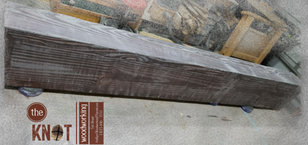 Textured Dark Mahagony and Gray Fireplace Mantle February 2018