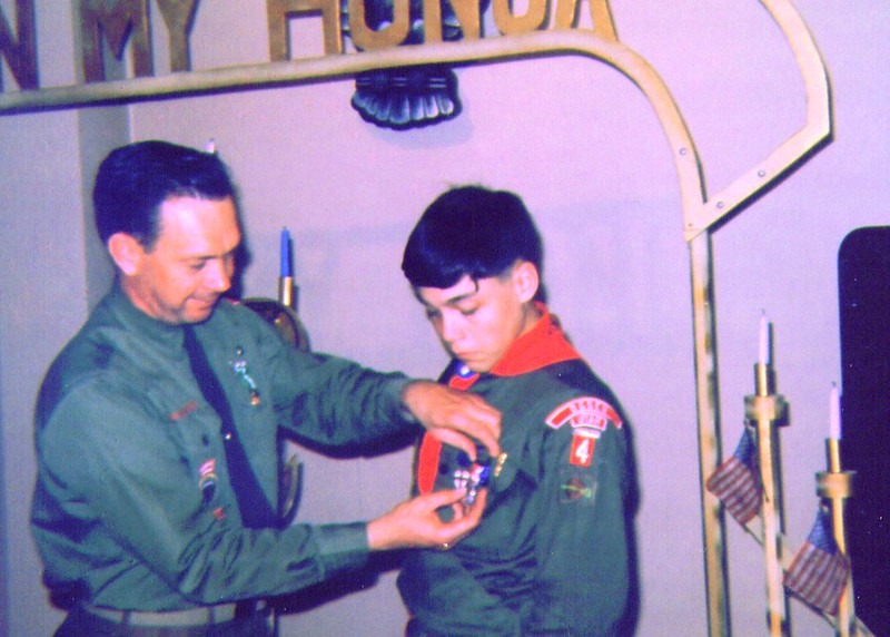 Mike receiving Eagle Scout Badge from Scoutmaster Wayne  .jpg