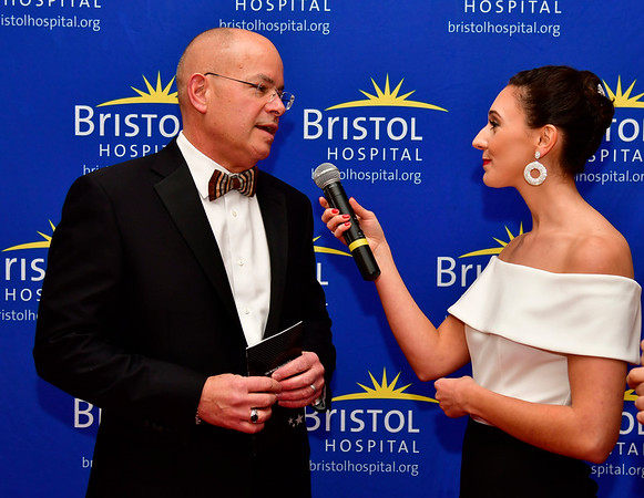 11/17/2018 Mike Orazzi | Staff Bristol Hospital Present and CEO Kurt Barwis talks with Grace Gagnon during Bristol Hospitals Annual Ball held at the Aqua Turf Club in Southington. All proceeds will benefit the Emergency Center expansion and renovation project.