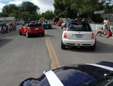 The MINIs were staying off the straight and narrow throughout the parade.