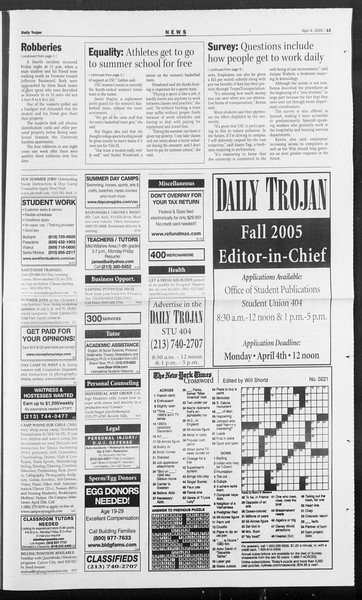 Daily Trojan, Vol. 154, No. 49, April 04, 2005
