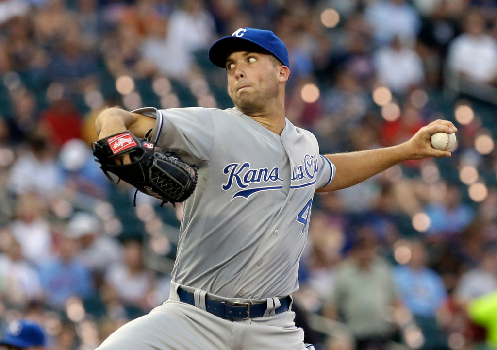 . Kansas City Royals pitcher Danny Duffy throws against the Minnesota Twins in the first inning of a baseball game on Wednesday, Aug. 28, 2013, in Minneapolis. (AP Photo/Jim Mone)
