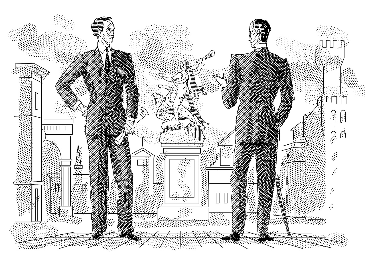 Illustration for a review of a book on men's wear