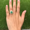 5.34ctw Emerald and Old Mine Cut Diamond Cluster Ring 7