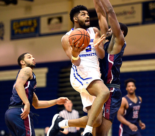 3/2/2019 Mike Orazzi | Staff CCSU's Kashaun Hicks (2) during Saturday's Mens basketball game with Fairleigh Dickinson in New Britain.