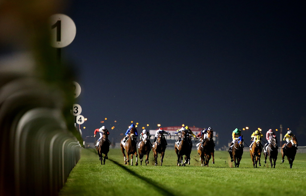 . Jockeys compete in the al Quoz Sprint race held on Dubai World Cup day on March 29, 2014 at Meydan racecourse in Dubai. A cosmopolitan gathering of horses from seven different countries contest the US$10 million Emirates Dubai World Cup at Meydan racecourse.  (MARWAN NAAMANI/AFP/Getty Images)