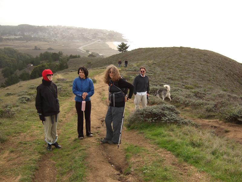 Hike with Joel McEwen's girl friend, center Jean Marie Offenbacher, left and my wife Eva Strauss-Rosen, right. Moss Beach Trails. Dec 27, 2010.
