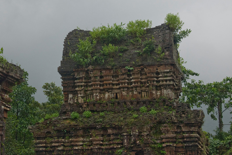 Shot of the ruins in My Son Sanctuary, Vietnam