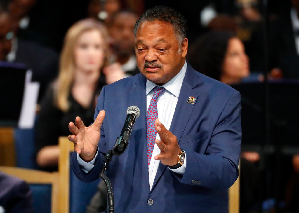 . Rev. Jesse Jackson speaks during the funeral service for Aretha Franklin at Greater Grace Temple, Friday, Aug. 31, 2018, in Detroit. Franklin died Aug. 16, 2018 of pancreatic cancer at the age of 76. (AP Photo/Paul Sancya)