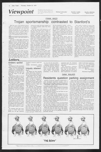 Daily Trojan, Vol. 87, No. 29, October 25, 1979