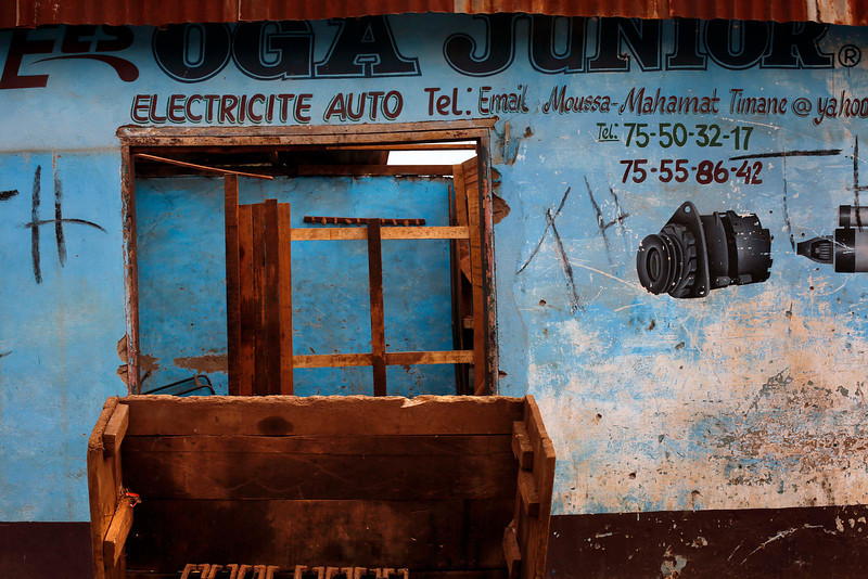 . A Muslim auto shop stands looted in the Miskin district of Bangui, Central African Republic, Tuesday Feb. 4, 2014. (AP Photo/Jerome Delay)
