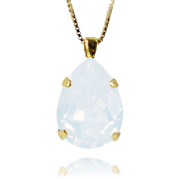 Classic Drop Necklace / White Opal Gold
