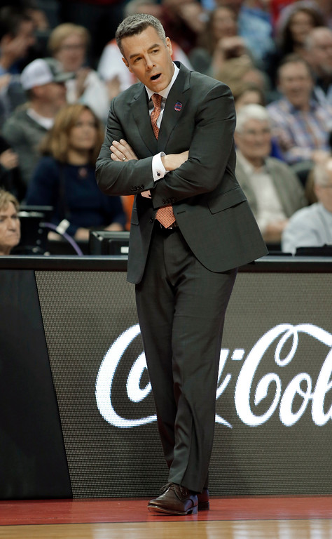 . Virginia coach Tony Bennett reacts to a play during the second half of the team\'s first-round game against UMBC in the NCAA men\'s college basketball tournament in Charlotte, N.C., Friday, March 16, 2018. (AP Photo/Bob Leverone)