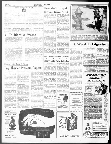 Daily Trojan, Vol. 40, No. 130, May 02, 1949