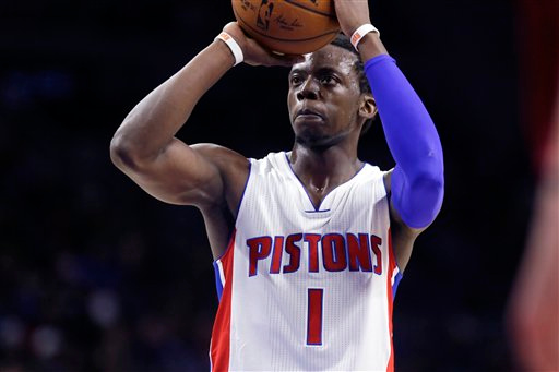 . Detroit Pistons guard Reggie Jackson shoots a free throw during the second half of an NBA basketball game against the Cleveland Cavaliers, Tuesday, Feb. 24, 2015 in Auburn Hills, Mich. Cleveland defeated the Pistons 102-93. (AP Photo/Carlos Osorio)