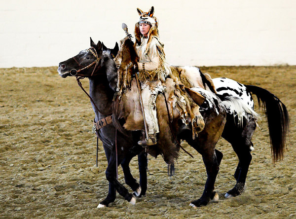 Indian garbed rider and horse.