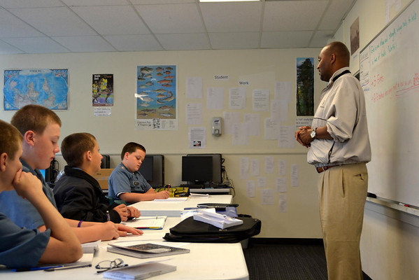Mr. William Washington visits with CPT Butt's 7th grade English class.