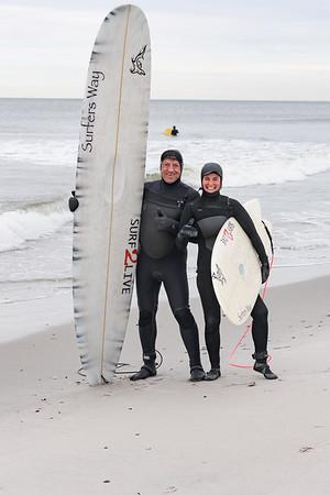 Tia Trivisonno and Elliot Zuckerman Surfing Pacific Beach, Long Beach 3-15-20