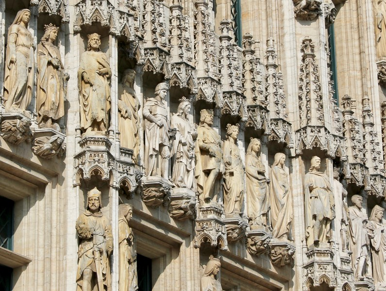 Detail on the Town Hall building - Grand Place, Brussels