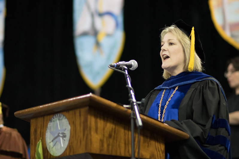 Interim President Kelly Quintanilla during the 2017 SPring Commencement. Over 1,100 graduates received their degrees during two commencement ceremonies held on May 13.